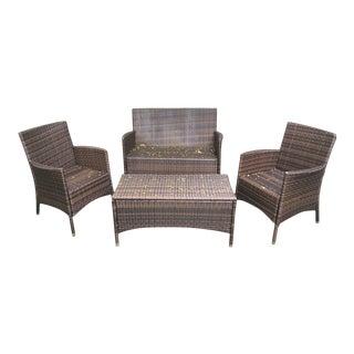 21st Century Vintage Wicker-Look Outdoor Seating Set- 4 Pieces