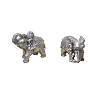 Chinese Pair Silver Color Mixed Metal Elephant Decor Figures For Sale