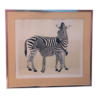 David T. Grose Zebra Lithograph For Sale