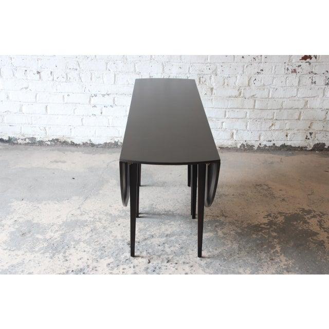 Animal Skin Edward Wormley for Dunbar Mid-Century Modern Walnut Oval Drop-Leaf Dining Table For Sale - Image 7 of 13