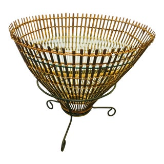 Vintage Rattan Basket Iron & Glass Side Table in Style of Albini For Sale