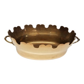 1950s Hollywood Regency Solid Brass Montieth Cachepot For Sale