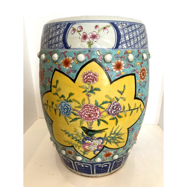 Great looking old Chinese chinoiserie garden stool. Bright and happy colors, in yellow, Aqua Blue , Blue and Pink. Lotus...