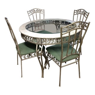 Marble Iron and Glass Dinette Set For Sale