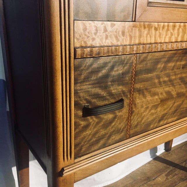 """Art Deco Art Deco Exotic Woods 35"""" China Cabinet/Bookcase For Sale - Image 3 of 13"""