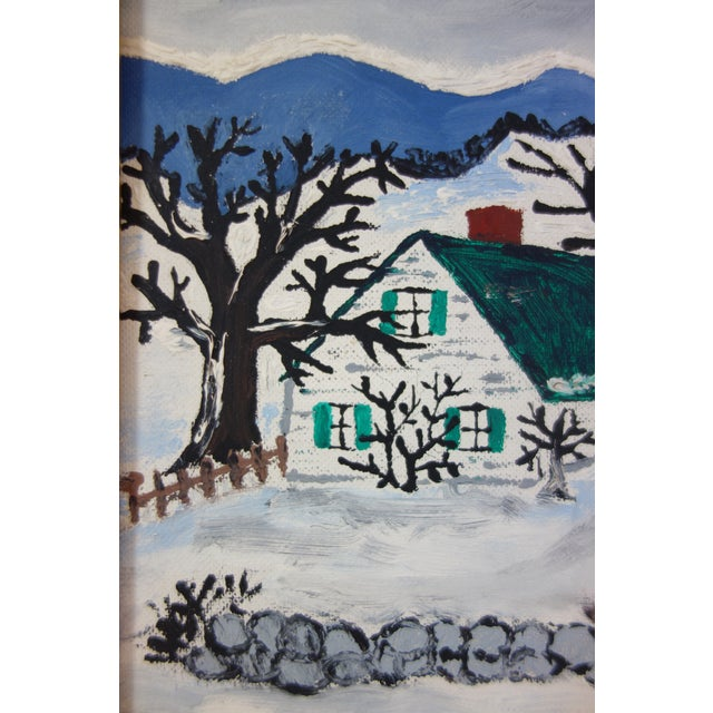 Framed Folk Art Winter Homestead Painting For Sale - Image 4 of 9