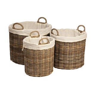 Kubu Woven Round Baskets - Set of 3 For Sale