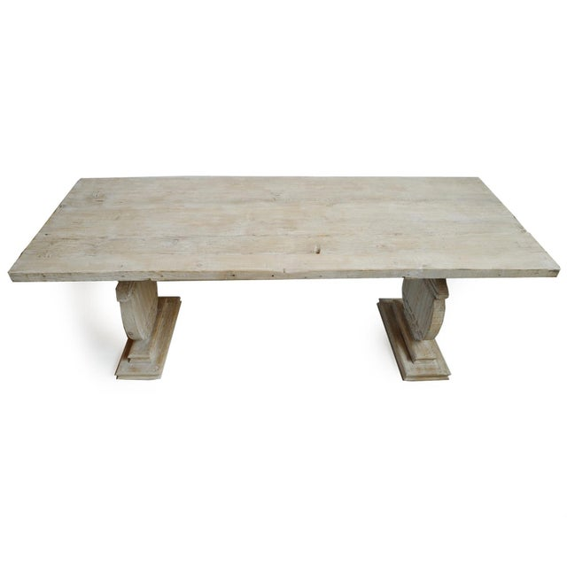 Modern Rustic White Wash Dining Table For Sale - Image 3 of 6