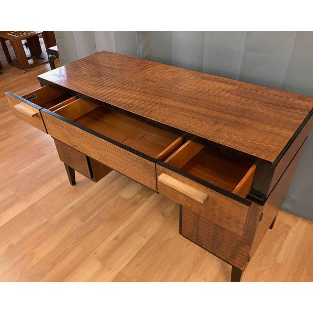 Art Deco Donald Deskey For Amodec Desk With Exotic Wood Finish