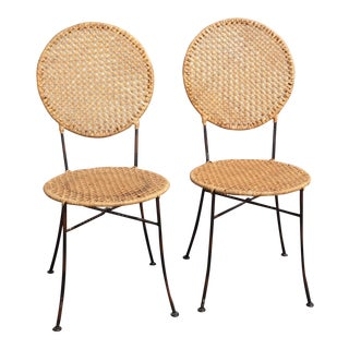 Pair of French Country Golden Brown Rattan Side Chairs For Sale