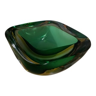Murano Sommerso Poli Seguso Cenedese Green Yellow Clear Geode Bowl For Sale