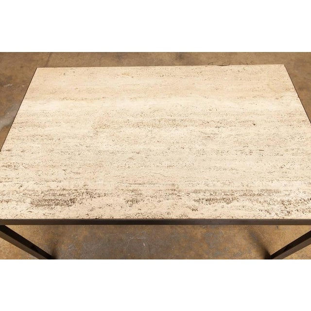 Travertine Slab Coffee Table: Mid-Century Italian Travertine And Steel Cocktail Table