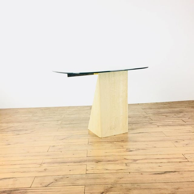 Mid-Century Modern Glass & Marble End Table - Image 2 of 6