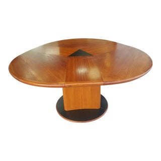 Mid Century Danish Modern Teak Expandable Dining Table by Skovby W Six Danish Dining Chairs For Sale