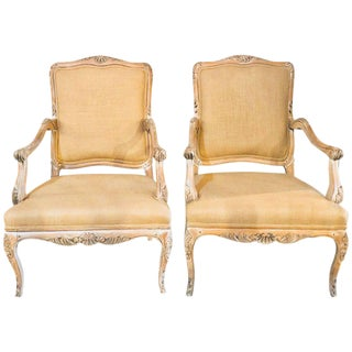 Pair of French Pin Construction Burlap Armchairs or Fauteuil Chairs