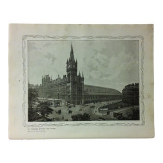 """1906 """"St. Pancras Station and Hotel"""" Famous View of London Print For Sale"""