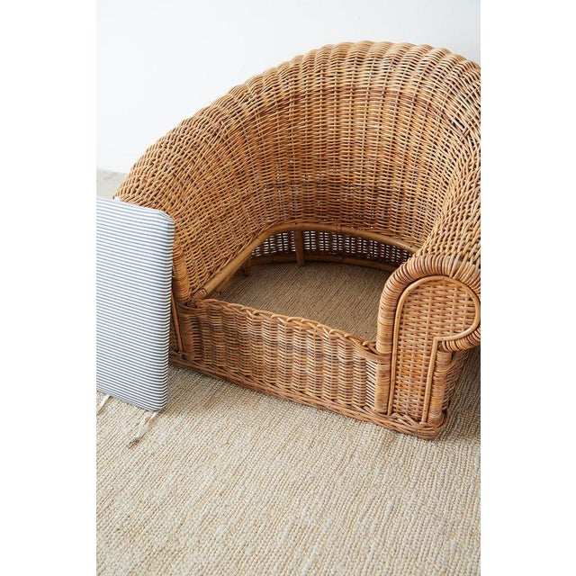 Michael Taylor Style Wicker Lounge Chairs With Ottoman For Sale - Image 11 of 13