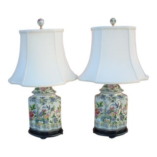 1980s Vintage Chinoiserie Export Style Lamps- a Pair For Sale