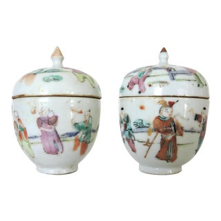 Little Chinese Famille Rose Porcelain Ginger Jars - a Pair, Late 1800's. For Sale