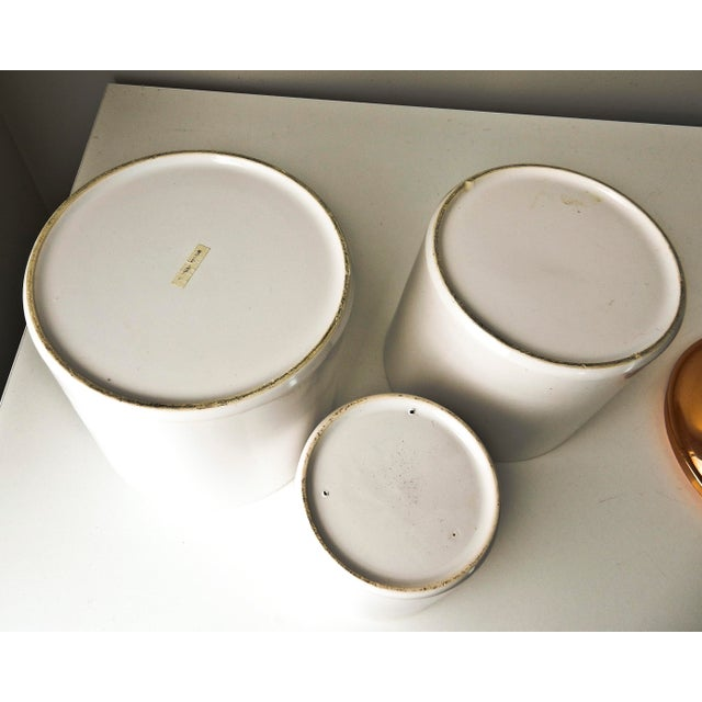 White Canisters with Copper Lids - Set of 3 - Image 5 of 7