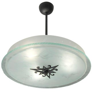 Italian Etched Glass Fixture For Sale