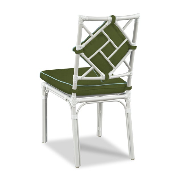 Made of powder coated aluminum with a weatherproof finish.Upholstered in Sunbrealla Canvas Melon with Blush welt.