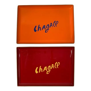 """Vintage """"Chagall"""" Lacquered Trays - a Pair For Sale"""
