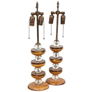 Pair of Sculptural Cerused-Oak Lamps For Sale