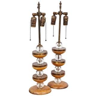 Pair of Sculptural Cerused-Oak Lamps For Sale