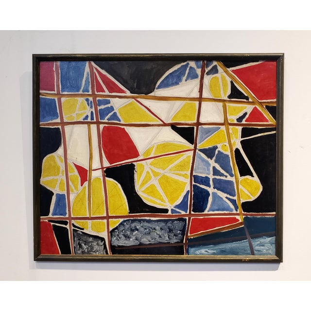 Dynamic and colorful abstract composition made with acrylic paint, oil paint, and pencil on board by famous Mid-Century,...