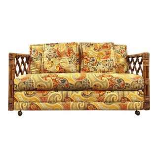 Mid Century Modern Rattan Love Sofa For Sale