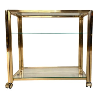 Italian Brass Trolley or Bar Cart For Sale