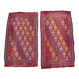 1970s Diamond Pattern Turkish Small Mats, Set of 2, Decorative Vintage Rug Woven With Wool , Pair of Turkish Kilim Rugs, Traditional Jajim Yastik For Sale