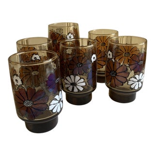 Vintage 1970s Floral Pattern Tumblers, Set of Six For Sale