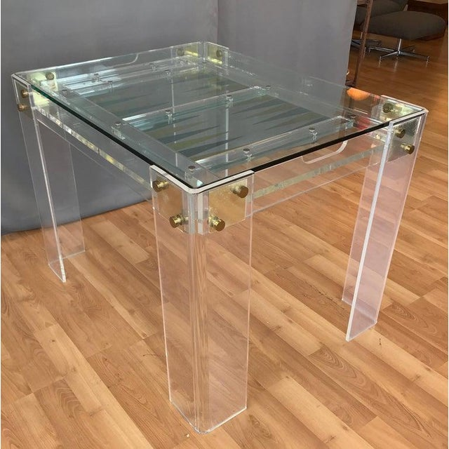 Lucite and Brass Backgammon Game Table in the Manner of Charles Jones For Sale In San Francisco - Image 6 of 13