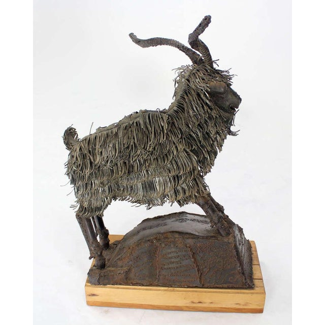 Tall Mid-Century Modern Metal Sculpture of a Goat For Sale - Image 9 of 10