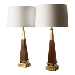 1960s Obelisk Shaped Lamps Designed by Tommi Parzinger for Stiffel Lamp Company - A Pair For Sale
