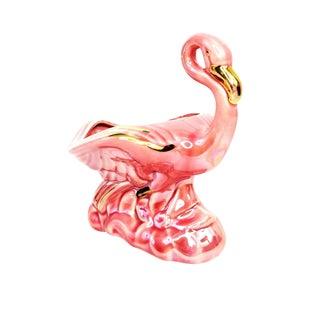 Mid Century Ceramic Pink & Gold Flamingo Planter Vase For Sale
