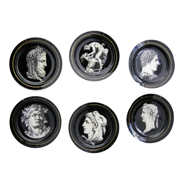 Fornasetti Style Neoclassical Black Glass Wall Plates - Set of 6 Mid-Century Modern MCM - Image 1 of 11