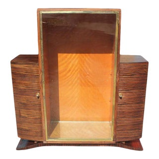 1940s French Art Deco Macassar Ebony Vitrine or Bookcase For Sale