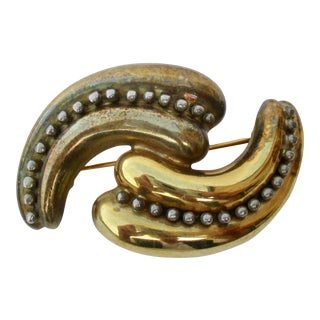 Mid Century Style Double Curl Pin by Vaubel For Sale