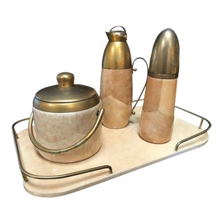 Aldo Tura Barware Set With Tray in Brass and Parchment, Italy, 1950s For Sale