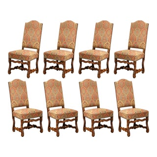 Mid-20th Century Set of Eight French Louis XIII Carved Sheep Bone Dining Chairs For Sale