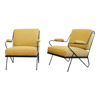 Custom Made Wrought Iron Pair of Lounge Chairs For Sale