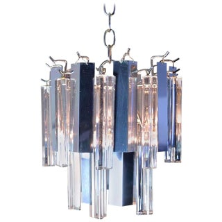 Petite Steel and Glass Chandelier by Camer For Sale