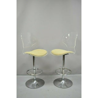 Vintage Mid Century Modern Hill Mfg Lucite Metal Swivel Tulip Base Bar Stools- Set of 3 Preview