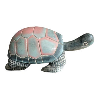 Vintage Carved Painted Turtle Statue For Sale
