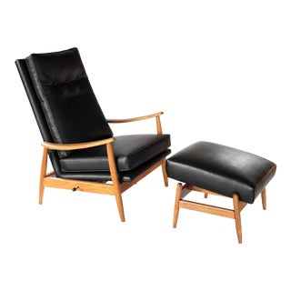 Vintage Milo Baughman Recliner and Ottoman Lounge Chair for James Inc. For Sale