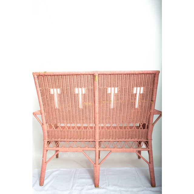1950s Boho Chic Pink Rattan Settee or Love Seat For Sale - Image 4 of 11