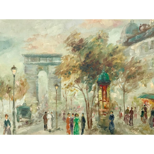 Abstract 1950s Vintage Pastel Paris City Scene Painting For Sale - Image 3 of 8